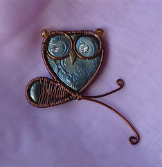 Mixed Media Owl Pin Blue & Brown (auntgriz) Tags: polymerclay glassbeads owlpin owlpendant swarovskirhinestones mixedmediajewelry coloredwire knightworkstudio