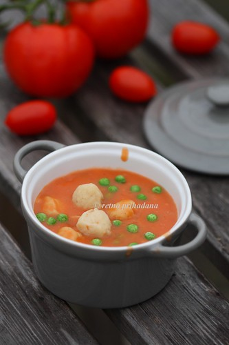 Creme of Tomato Soup with chicken Balls