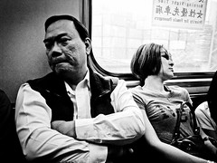 Taipei underground - perfect strangers (liver1223) Tags: china street city 2 people blackandwhite bw subway photo shot taiwan snap taipei greater gr ricoh grd blackwhitephotos grdigital2