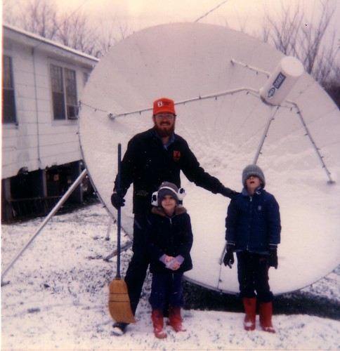 Dad, me and Christopher in front of the dish on a rare MS snow day