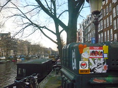 sticker combo in Amsterdam (bimimonsters) Tags: amsterdam one sticker ike combo ragtag earworm antifascistaction taltevigila bimimonsters