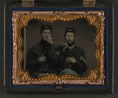 [Two unidentified soldiers in Union uniforms holding cigars in each others' mouths] (LOC) (The Library of Congress) Tags: usa soldier sitting unitedstatesofamerica union cigar civilwar soldiers cigars libraryofcongress yankee yankees sergeant thenorth theunion americancivilwar warbetweenthestates uscivilwar thecivilwar xmlns:dc=httppurlorgdcelements11 dc:identifier=httphdllocgovlocpnpppmsca27373