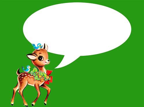 vintage Christmas reindeer card- green