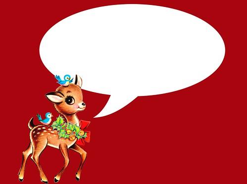 vintage Christmas reindeer  card - red