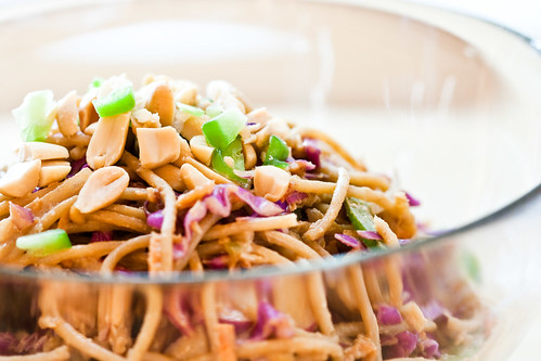 Cabbage and Noodle Salad with Spicy Peanut Sauce