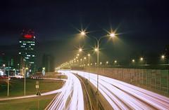Streams of light. A4 highway, Katowice, Poland. (wojszyca) Tags: road longexposure 3 night canon eos 50mm fuji traffic motorway poland velvia 50 fujichrome katowice rvp50