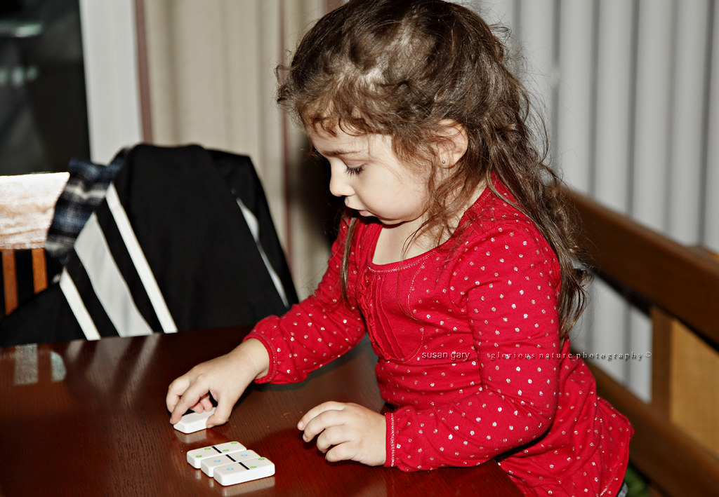 Toddler Girl Playing Dominoes