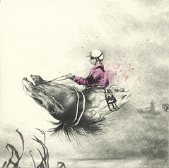 Driver (Ingri Haraldsen) Tags: pink 2 horses strange yellow speed pencil watercolor hair dead movement shadows small helmet floating blow tiny driver alive rider hester detailed crosshatch numbertwo underskogno horseheads nummerto hestehoder