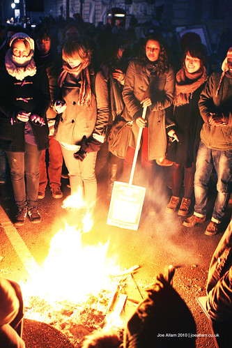 Protesters Around a Fire