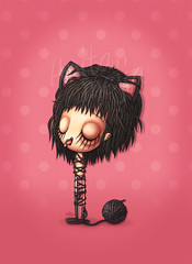 Meow (Anita Mejia) Tags: pink art girl tongue illustration digital ink cat ears ilustracion blcak chocolatita anitamejia mexicanillustrator