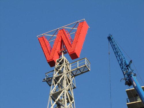 In January 2010, the big 'W' sign was put back in place atop the newly renovated original 1903 Woodward's Building on Hastings and Abbott street