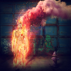 this fire in me (alejodiseo) Tags: pink blue selfportrait colour hydrant fire purple heart steam burning desire flame fuego autorretrato sparkling vapor alejodiseo