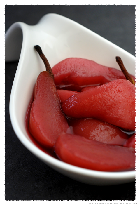 Hibiscus Tea Poached Packham Pears© by Haalo