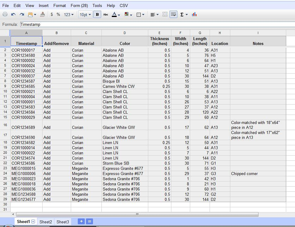 Using Google Documents Spreadsheets For Inventory Tracking - Part