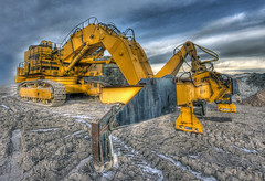 Loader (elementalPaul) Tags: blue plant yellow catchycolors scotland pentax tripod tracks leith loader hdr sigma1020mm heavyplant photomatixpro 5xp k10d pentaxk10d notatransformer
