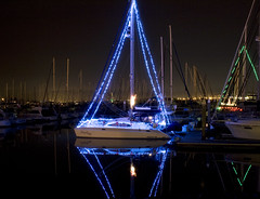 (nionr) Tags: ocean christmas winter holiday night reflections quiet peaceful calm coloredlights sanfranciscobay