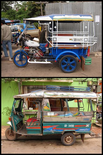na górze laotańska, przejściowa forma tuk tuka, z wciąż widoczną spuścizną po motocyklu; na dole w pełni wyewoluowany tuk tuk