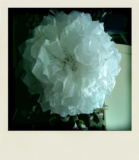White paper flower pom pom