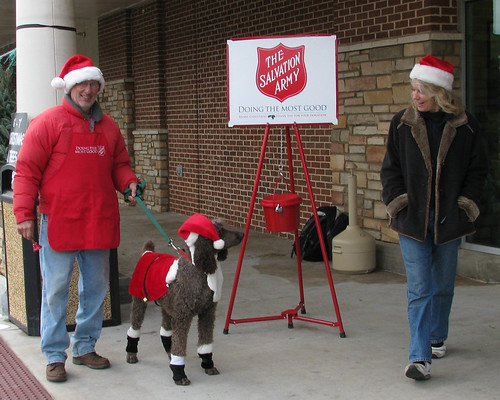 a cute surprise at the Salvation Army kettle ...