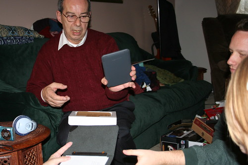 12/25/10: Grandpa gets a Kindle for his travels.