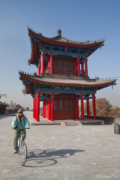 cycling the top of the xi'an city wall