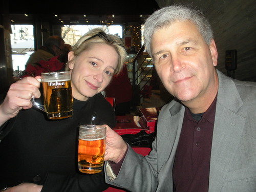 Sarah and John enjoy a lunchtime beer