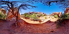 Landscape Arch (SdosRemedios) Tags: panorama landscape utah 360 moab geology redrock archesnationalpark hdr highdynamicrange vr landscapearch equirectangular sdosremedios size1x2 stevendosremedios longarch