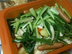 大晦日はシリコンスチーマーで蒸し野菜。味噌マヨネーズで頂きま す。