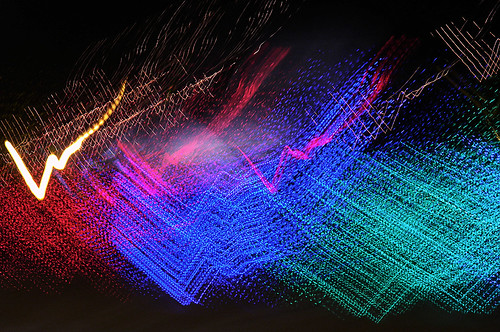 Holiday Lights in Abstract, Slow Shutter Speed Drive-by Mode