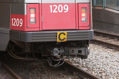 'C' sign (indicating the rear of a coupled LRV set) on the rear of coupled Phase 2 LRV trailer 1209