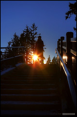 Sunset And Stairs (Clayton Perry Photoworks) Tags: winter sunset silhouette vancouver stairs silhouettes stanleypark frances hdr