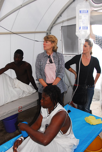Visiting with patients of a cholera treatment unit