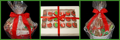 Christmas Gifts Baskets filled with Chocolates and mini cupcake gift boxes