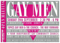 Gay Men poster, Manchester City Council, n.d. (GB127.M775/1/5) (archivesplus) Tags: gay manchester gaymen lgbt archives manchestercitycouncil gb127