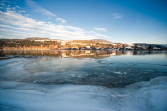 Last Light (Philipp Klinger Photography) Tags: blue winter light sky orange lake cold reflection ice nature water yellow clouds last river landscape austria see evenin