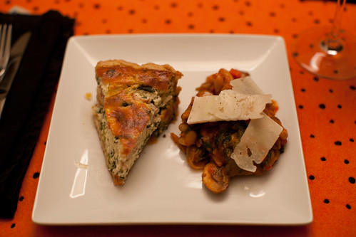 Ricotta, Prosciutto and Spinach Tart, Braised Escarole with White Beans, Mushrooms, Tomato and Pecorino
