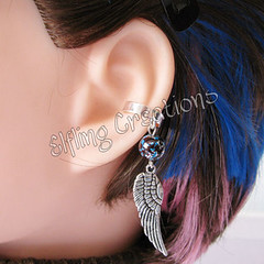 Feathered Wing Blue and Silver Ear Cuff