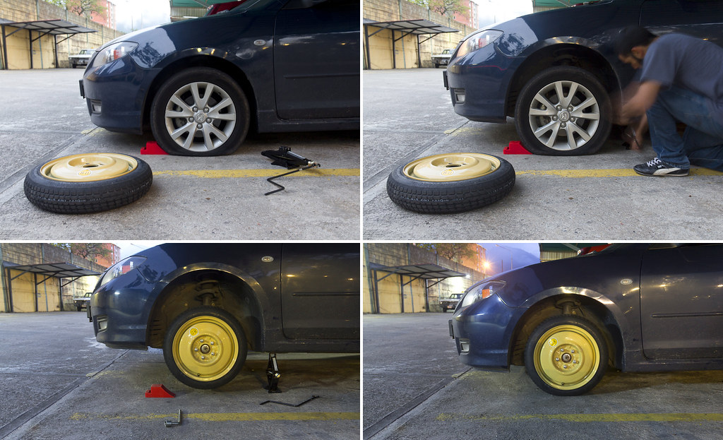 Cambiando llanta / caucho / rueda - Changing a flat tire