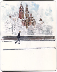 Kelvingrove in the snow (Wil Freeborn) Tags: winter snow museum sketch journal watercolour kelvingrove