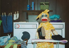 Sock Monkey Mother Appreciation (monkeymoments) Tags: iron day mothers sockmonkeys monkeys clothesline laundryroom ironing washeranddryer