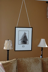 Ship photograph above sofa-summer decorating (trying to decide which lamp to keep) (kizilod2) Tags: summer decorating