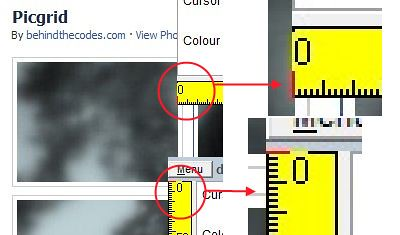 Calculating Facebook picture thumbnails gap size using dRuler