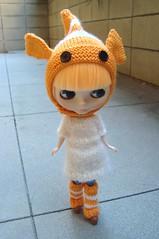Goldfish hat and legwarmers