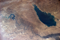 A river and a lake. Close to which capital city? (astro_paolo) Tags: iraq nasa iss esa internationalspacestation earthfromspace europeanspaceagency euphratesriver expedition26 magisstra milehtharthar