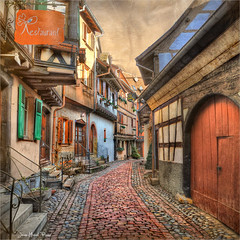 Restaurant (Jean-Michel Priaux) Tags: street france history architecture stairs photoshop painting restaurant alley cityscape village path nobody colmar alsace ruelle rue staircases oldstreet hdr anotherworld colombage pavers patrimoine pavés moyenâge pitoresque routedesvins pittoresque patrimony eguisheim priaux —obramaestra—
