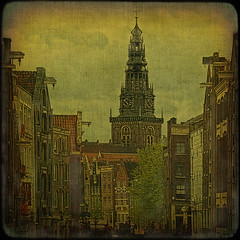 Amsterdam... Oude Kerk bell tower and hooks over the city. (egold.) Tags: netherlands amsterdam belltower textures hdr hooks oudekerk