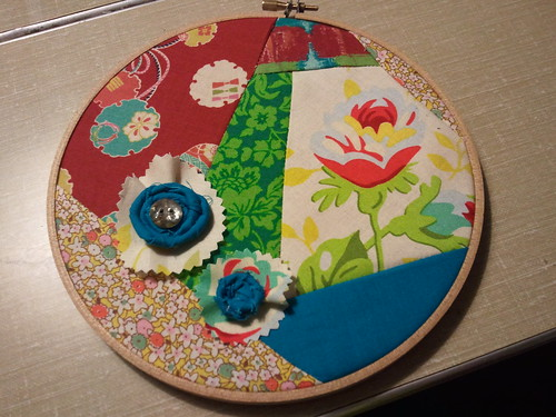 Patchwork fabric and rosette fabric art