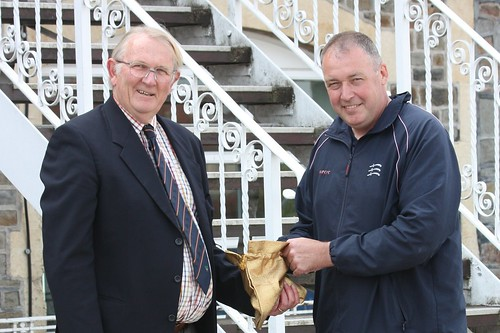 Angus Fraser (right) with Peter Browne (Sunbury CC)  conducting the Conference Cup 2nd Round Draw
