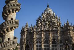so much fancy stuff! (Tin-Tin Azure) Tags: mahabat maqbara palace mausoleum bahaduddinbhai hasainbhai junagadh gujarat india nawab 18th century chitkana chowk tomb baharuddin bhar blue sky ruin detail architecture
