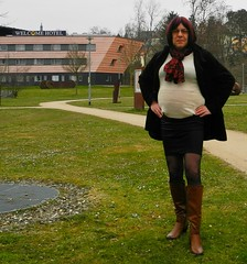 2016-03-20-03 (mathildecross) Tags: crossdress crossdressing crossdresser boots bamberg outdoor pantyhose transvestit